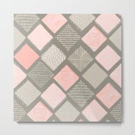 Tan and Blush Argyle with Texture Metal Print