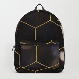 Dark bokeh gold hexagons Backpack