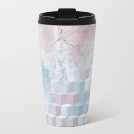 Distressed Cube Pattern - Pink and blue Travel Mug