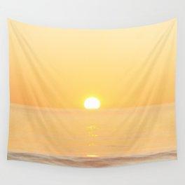 Peachy sunrise seascape Wall Tapestry