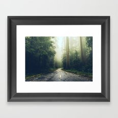 Green Forest Fog Road Wanderlust - California Redwoods Road Trip Framed Art Print
