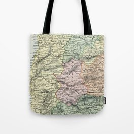 Spain and Portugal Vintage Map Tote Bag