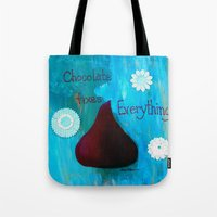 chocolate Tote Bags featuring Chocolate by Patty Haberman