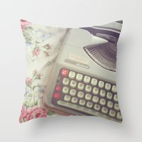 typewriter Throw Pillows featuring Typewriter by Beth Retro