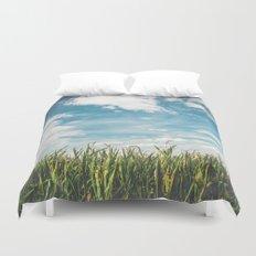 Green Field Blue Sky Duvet Cover