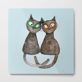 Two cute loving cats Metal Print