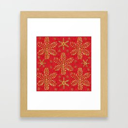 DP044-2 Gold snowflakes on red Framed Art Print
