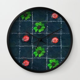 Clover and ladybugs tic-tac-toe pattern Wall Clock