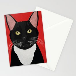 Tuxedo Cat Design in Bold Colors for Pet Lovers Stationery Cards