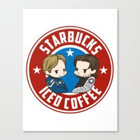 stucky Canvas Prints featuring Starbucks - Steve Rogers and Bucky Barnes Iced Coffee  by BlacksSideshow