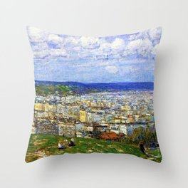 Classical Masterpiece 'View of New York from Fort George' by Frederick Childe Hassam Throw Pillow