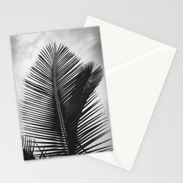 Tropical Palm Leaf Black and White Stationery Cards