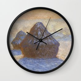 Haystacks, Snow Effect by Claude Monet Wall Clock