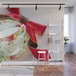 Green Teacup Red Ribbon Wall Mural