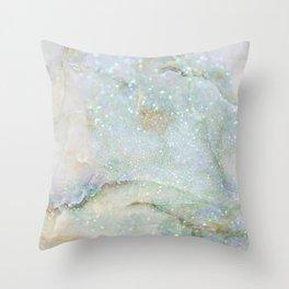 Elegant Aqua Marble with Flecks of Diamond Glitter Throw Pillow