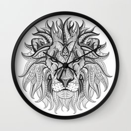 Ethnic Tribal Lion Doodle 04 Wall Clock
