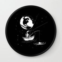 Astronaut Fishing in Space Wall Clock