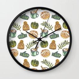 Watercolor Winter Objects Wall Clock