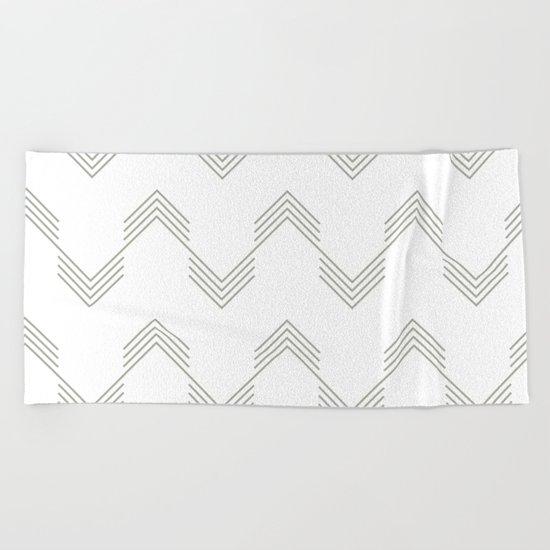 Simply Deconstructed Chevron Retro Gray on White Beach Towel
