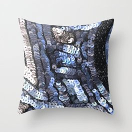 Baby Blue Silver Black Sequin Design Throw Pillow