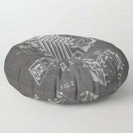 Vintage Camera Patent - Photographic Camera Art - Black Chalkboard Floor Pillow