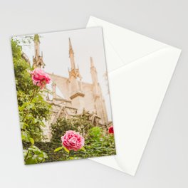 Roses at Notre Dame - Paris Photography Stationery Cards