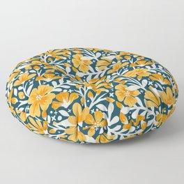 Blossom Pattern – Ochre & Teal Floor Pillow