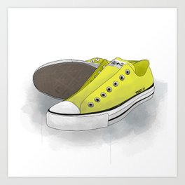 yellow all-star converse sneakers Art Print