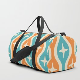 Mid century Modern Bulbous Star Pattern Orange and Turquoise Duffle Bag