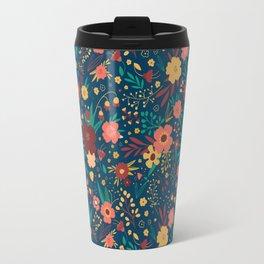 Floral Navy, Marsala, Mustard Gold Pattern Travel Mug