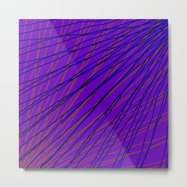 Rays of blue light with mirrored dark waves on violet. Metal Print