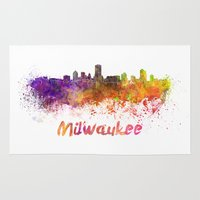 milwaukee Area & Throw Rugs featuring Milwaukee skyline in watercolor by Paulrommer