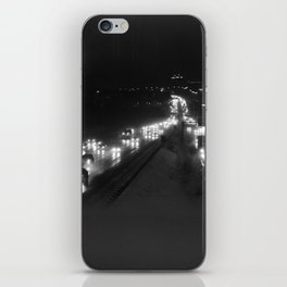 A snowy highway, the 401 at night iPhone Skin