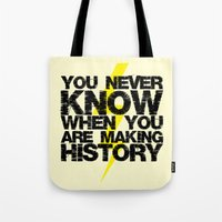 history Tote Bags featuring HISTORY by Silvio Ledbetter