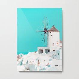 Windmill Santorini Oia Metal Print