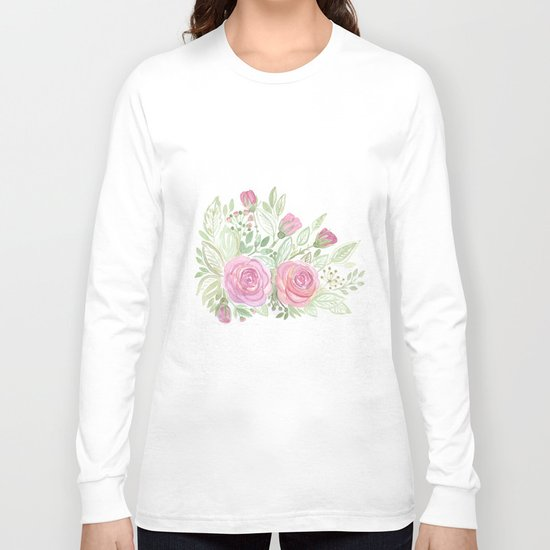 Watercolor . A bouquet of roses . Long Sleeve T-shirt