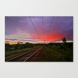 Northern sunset at white night Canvas Print