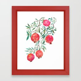 red pomegranate watercolor Framed Art Print