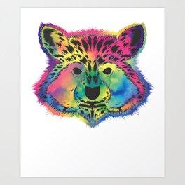 Raccoon Retro Art Print