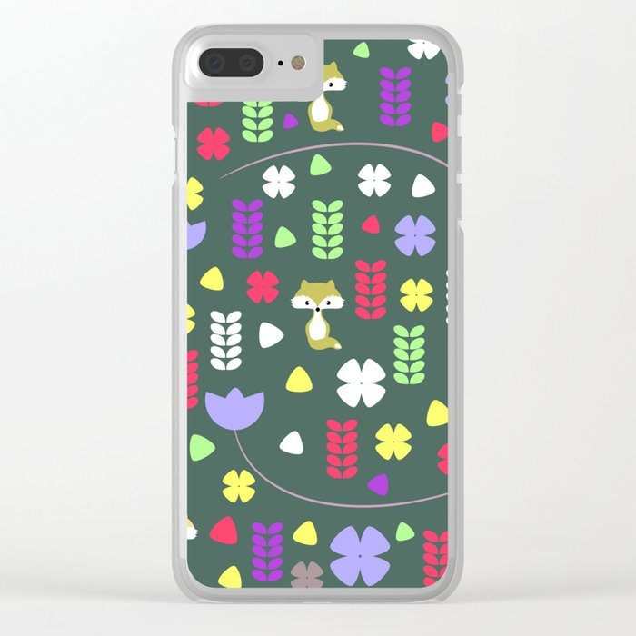 Foxes, flowers and more Clear iPhone Case