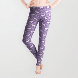 Border Collie silhouette minimal floral florals dog breed pet pattern purple and white Leggings