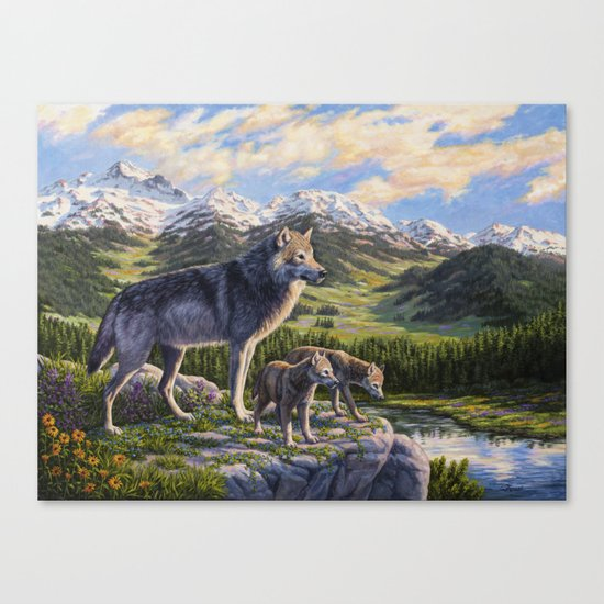 Mother Gray Wolf and Pups River Valley Canvas Print