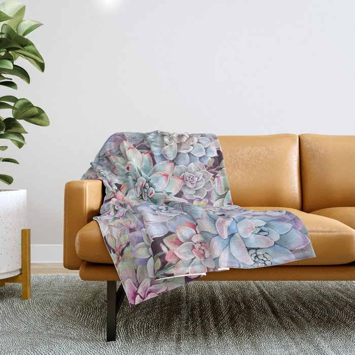 succulent garden 3 Throw Blanket