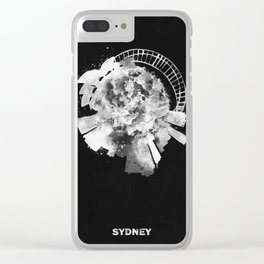 Sydney, Australia Black and White Skyround / Skyline Watercolor Painting (Inverted Version) Clear iPhone Case