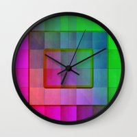 aperture Wall Clocks featuring Aperture #1 Fractal Pleat Texture Colorful Design by CAP Artwork & Design