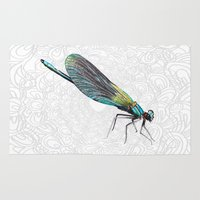 dragonfly Area & Throw Rugs featuring Dragonfly by Matt McVeigh