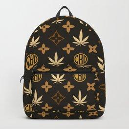 Gold Marijuana pattern. Digital illustration. Vector illustration background Backpack
