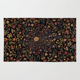 Medieval Flowers on Black Rug