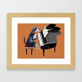 Piano lesson ( Doggy Art ) Framed Art Print