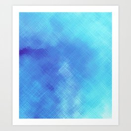 Turquoise Seas Abstract Watercolor - Crosshatched Art Print